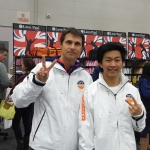 Coach Sergei with Aaron Ahn at the 2014 Junior Olympics in Portland, OR.